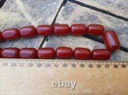 Bakelite Perles Faturan Collier 115gr Antique Vintage Art Deco Cerise Rouge Ambre