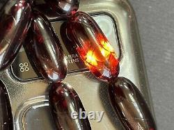 Belle Antique Faturan Cerise Ambre Bakélite Perles De Prière Islamiques 75g R3