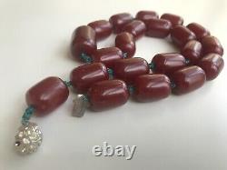 Big Cherry Faturan Bakelite Antique Allemagne Collier Perles Islamiques Années 1920