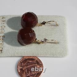 Boucles D'oreilles Antiques Faites À La Main 14k 13mm Faceted Cherry Amber Lever Back