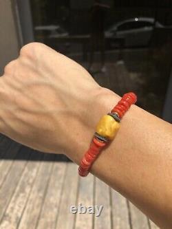 Bracelet De Corail Rouge De Sang Non Teint Naturel Et Butterscotch Ambré Naturel De La Baltique