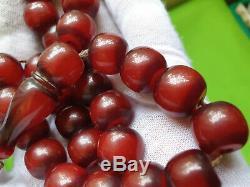 Cerise Ambre Bakélite Veiné Faturan 27 Perles Prière Imame Antique Damari 52.9gr