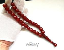 Cerise Ambre Bakélite Veiné Faturan 27 Perles Prière Imame Antique Damari 60.5gr