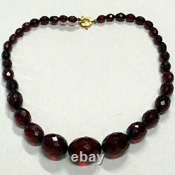 Cerise Antique Collier Ambre Perles À Facettes Victoriennes