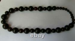Cerise Vintage / Antique Collier Rond Ambre Long 60 G