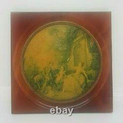 Cherry Amber Bakelite Antique Frame Rare Oil Painting Portrait Art Déco Collect
