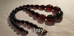 Cherry Amber Bakelite Perles Antique Vintage Faturan Collier Testé 19g