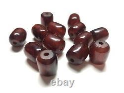 Cherry Amber Bakelite Prière Perles Komboloi 33.1g Veiné Testé Vtg Antique