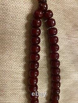 Cherry Amber Bakelite Sikma Kehribar Faturan Prayer 74 Gr Red Misbah Tesbih
