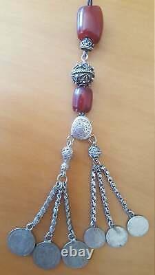 Cherry Amber Faturan Bakelite Antique Kehribar Prière Misbaha Tesbih Perles 138gr
