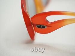Christian Dior Vintage Orange Rouge Large Lunettes De Soleil Ambre Gris Femmes Années 70 Surdimensionné