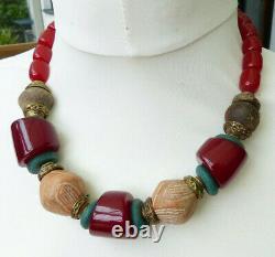 Collier Africain, Perles De Résine D'ambre Cerise, Mali Clay Spindle Whirls