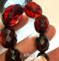 Collier Antique D'ambre De Cerise Perles Victoriennes À Facettes Avec Fermeture