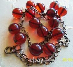 Collier Antique De Perles D'ambre Rouge Cerise Rare 24 Grammes Testé