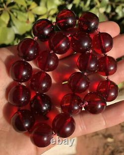 Collier Antique De Perles Rondes D'ambre De Cerise Authentique De Faturan 64.6 Grammes