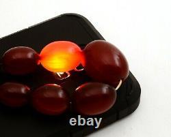 Collier Bakélite Bakélite Bakélite Amber Cerisier Antiquable 69g