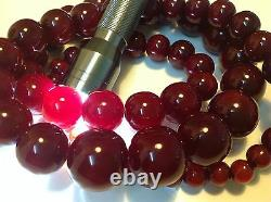 Collier Original Antique De Cerise Chinoise Bakelite Rond De Perles 192 Grammes (m493)