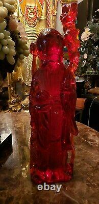 Colossale! Rare Main Carved Chinese Cherry Amber Resin Wiseman (21.75h X 6.5w)