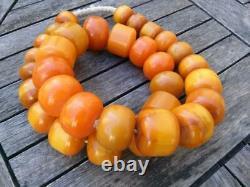 Énorme Musulman Antique Naturel Ambre Perles De Prière De Cerise Rosaire Tesbih 1,50kg Vieux
