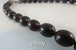 Estate Antique Vintage Déco Dark Cherry Amber Beads Collier