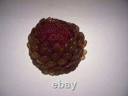 Fleur De Verre Tchèque Antique Rouge / Ambre Perlé Couverture D'ampoules Revissé 3 3/4