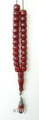 La Prière Antique Faturan Cerise Ambre Bakélite Perles Tespih Damari 70,8 Grammes