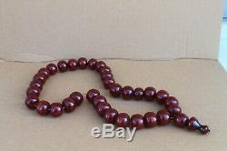 La Prière Véritable Cerisier Antique Ambre Bakélite Faturan Islamique Collier De Perles