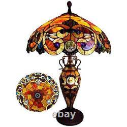 Lampe De Table Tiffany Style Bijoux Rouge Vitrail Shade Antique Bronze 2 Lumières