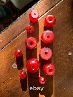 Lot Antique Cerise Amber Bakelite Faturan Kehribar Perles 7 Perles S'il Vous Plaît Lire