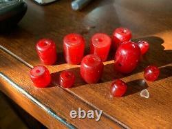 Lot Belle Antique Cerise Ambre Bakélite Faturan Kehribar Perles 32g Rare