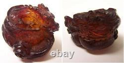 Lot De 6 Figurines Antiques Red Amber Bakelite Oriental Dragon