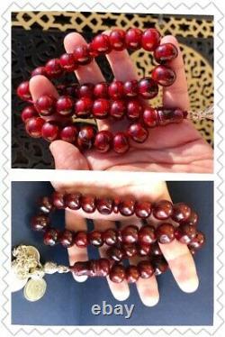 Ottoman Antique Faturan Cerise Ambre Bakelite Prière Islamique 33 Perles 80grams R