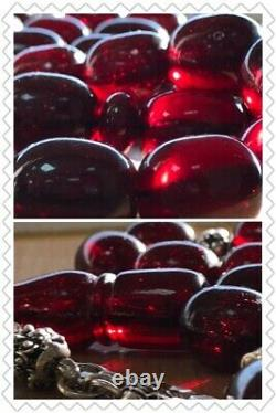 Ottoman Antique Faturan Cerise Ambre Bakelite Prière Islamique 33 Perles 83 Grammes R