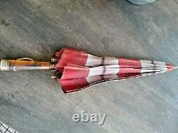 Parapluie Vintage Des Années 1920 Avec Poignée Amber Bakelite Et Laiton Et Chaîne En Laiton