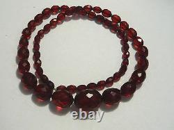 Perles Antiques Authentiques D'ambre De Cerise Victorienne