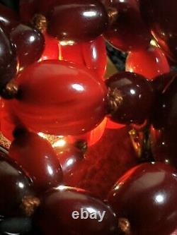 Perles Antiques Authentiques De Baril De Swril Cherry Collier D'ambre 38 Grammes 64cm De Long