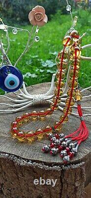 Perles De Prière Islamique Tasbih, Antique Ottoman Cherry Amber, Faturan, Osmanli Ates