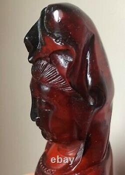 Qing Dynasty Antique Fine Chinese Sculptée Cerise Couleur Amber Guanyin