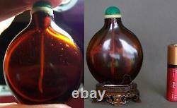 Rare 18ème Siècle Chinese Rouge-ambre Crizzled Verre Snuff Bouteille Avec Support En Bois