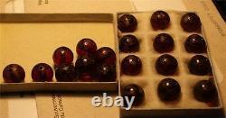Rare Antique Sculpté Rouge Cerise Amber Bead Bakelite Perles Vintage 20 Total