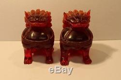 Rare C19th Naturel Rouge Ambre Paire Chinese Foo Dog Sculpté Figurines