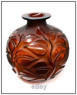 René Lalique Rare Grand Verre Vase Sophora Signée À La Main Rouge Ambre Cristal Antique
