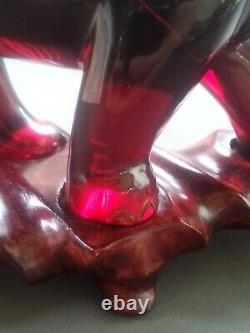 Statue D'éléphant Acrylique Rouge Cerise Finement Découpée De Chinois De Cru 9 Pouces