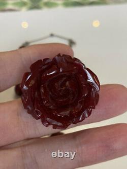 Superbe Antique Art Déco Bakelite Cherry Amber Bead Necklace & Broche Pin