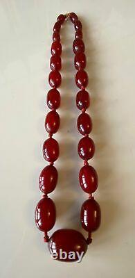 Superbe Antique Art Déco Marbled Bakelite Dark Cherry Amber Bead Collier 67g
