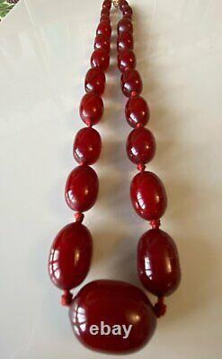 Superbe Antique Art Déco Marbled Bakelite Dark Cherry Amber Bead Necklace 67g