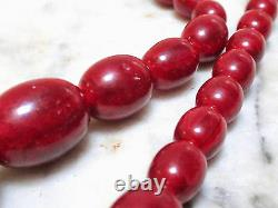 Superbe Collier Antique Vintage Red Cherry Amber Bakelite 27g