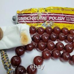 Testé Allemand Antique 33 Ambre Bakélite Perles De Prière Cerise Faturan Catalin