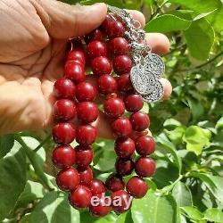 Testé Original Allemand Antique 33 Cerise Faturan Amber Bakélite Perles De Prière
