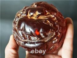 Tibétain Vieux Dragon Antique De Cerise Ambre Zodiaque Chinois Sculpté Boule De Statue Tibet